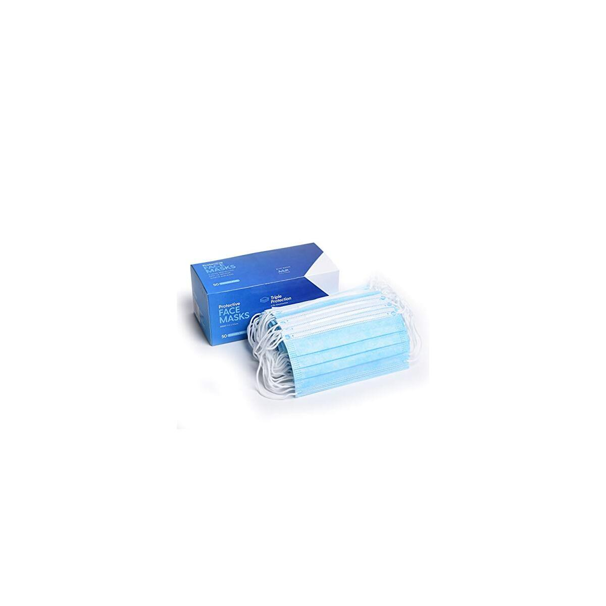 Disposable 3 Ply Face Masks - 20 x 50 Count Boxes (1000) by Milliard