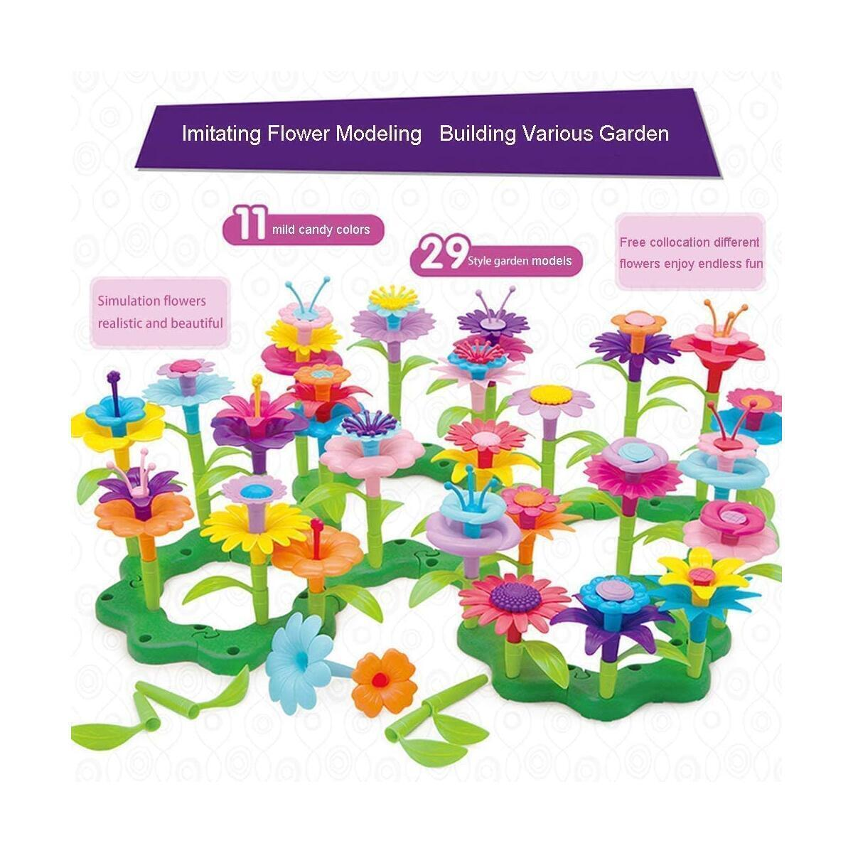 Happytime Flower Garden Building Toy Set -148 Pcs Build a Bouquet Floral Arrangement Playset Pretend Gardening Blocks Educational Creative Craft Toys for 3, 4, 5, 6 7 8 Year Old Toddlers Kids Girls