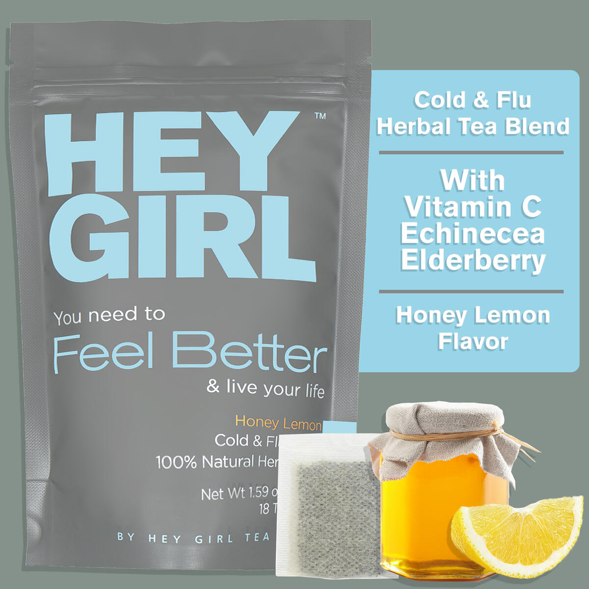 Feel Better Herbal Tea - Immune Support , Immune Booster w/ Echinacea , Elderberry , Vitamin C , Ginseng , Ginger | Thoughtful Gifts For Women