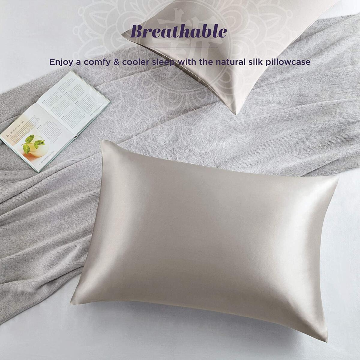 100% Pure Mulberry Brown Silk Pillowcase for Hair and Skin | Premium 25 Momme Organic Worm Silk Pillow Case, Hypoallergenic Antibacterial with Hidden Zipper - 2 Pack (King 20x36 Taupe)