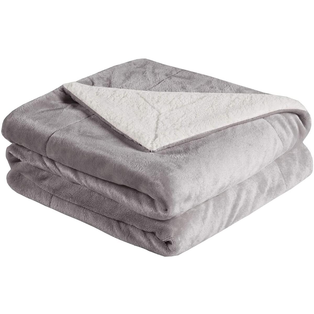 Cozy Grey Sherpa Throw Blanket - Fuzzy Soft Plush Flannel Blanket for Sofa, Couch, Bed, Outdoor, Travel - 50x60 Inches, Grey