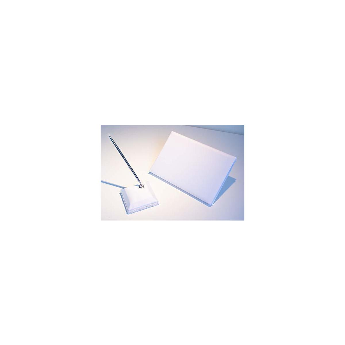 Wedding Guest Book and Pen Set - Pure White Satin Sign-in Wedding Book