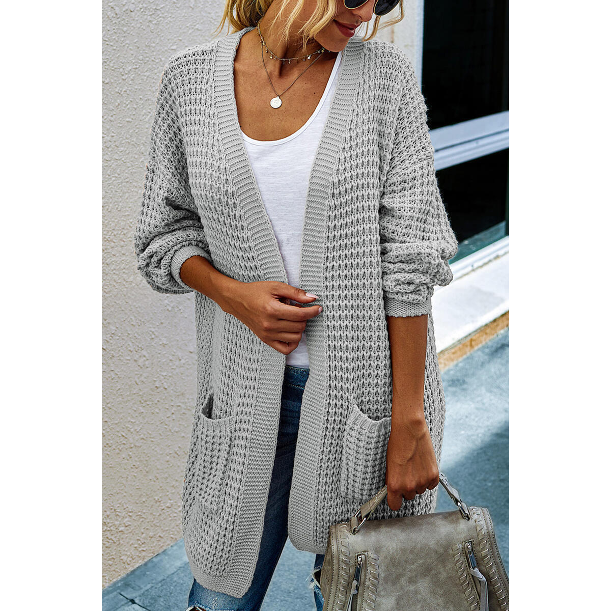 Alelly Womens Open Front Cardigan Long Sleeve Chunky Sweater, Knit Sweaters Coat All Colors