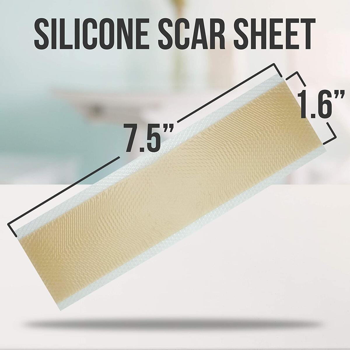 "[Box of 15] Silicone Scar Sheets, Medical Silicone Scar Removal Sheets (7.5""x1.6"") Silicone Sheets for Scars, Keloid & Acne, Scar Treatment Sheets for Burns & Surgery Scars, Reusable w/UV Protection"