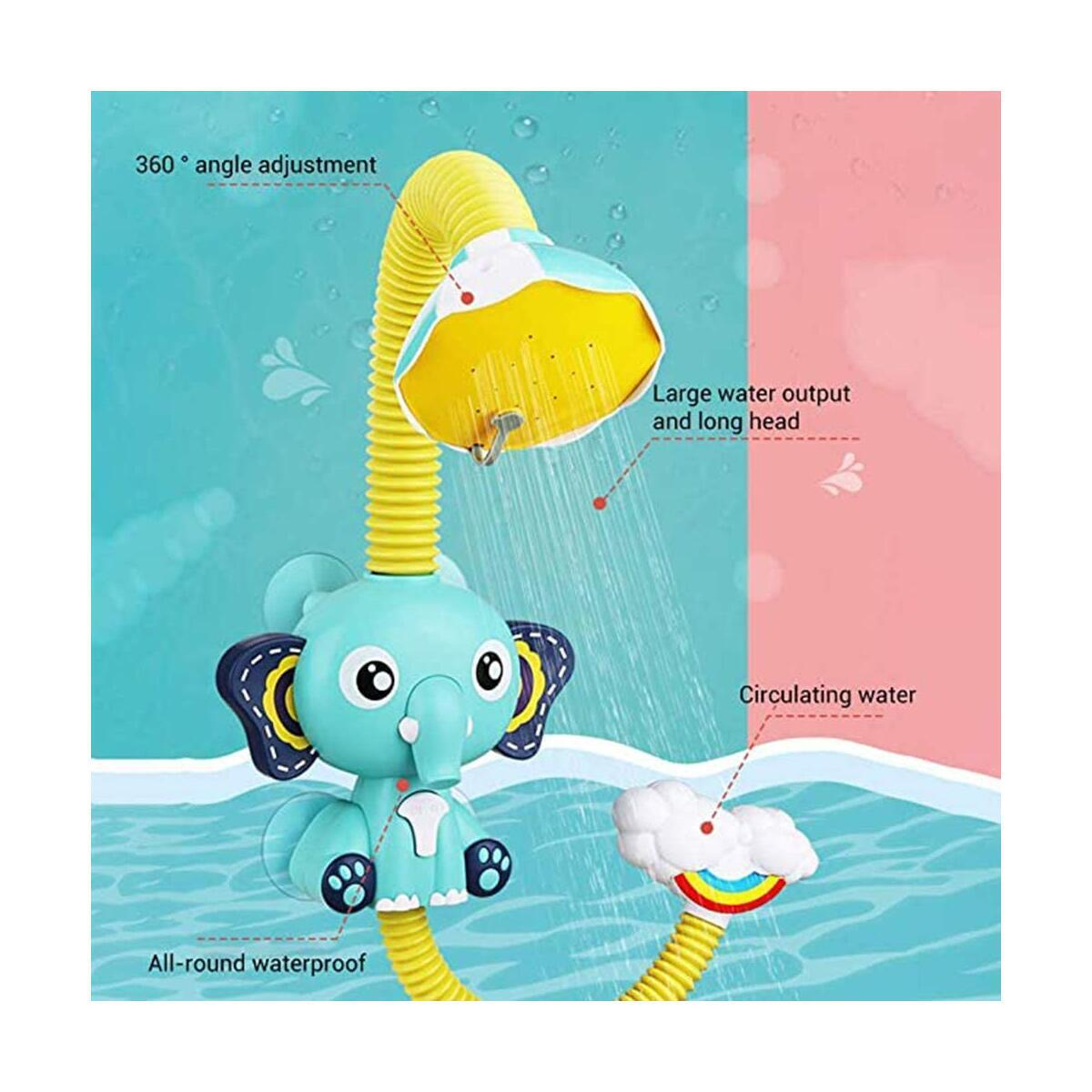 Baby Bath Shower Electric Shower - Toddler Bath Toy Require 4 X 1.5 V AAA (not included) Bathroom Toy with Four Suction Cups for Baby Infant Shower Elephant