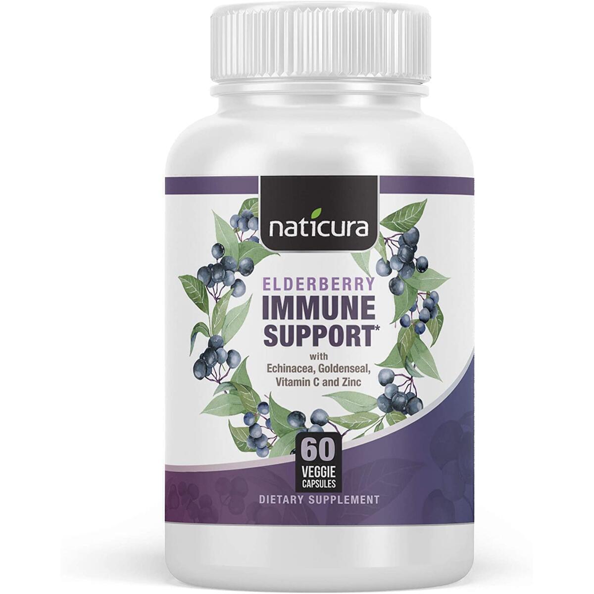 Naticura Black Elderberry Capsules with Echinacea, Goldenseal, Astragalus, Zinc and Vitamin C, 60 Capsules