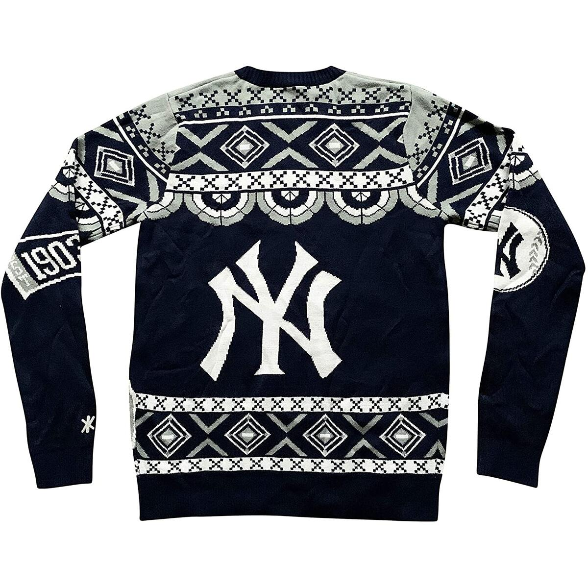 Genuine Merchandise Men's Sweaters New York Yankees Klew MLB Thematic Ugly Sweater (Small, Navy/Gray/White)