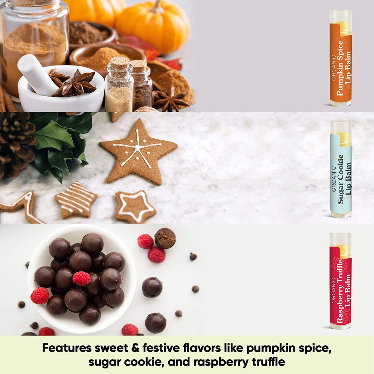 Organic Holiday Lip Balm Trio by Sky Organics (3 Sticks) Holiday Fall Flavors Moisturizing Lip Balm Gift Set Pumpkin Spice, Sugar Cookie, Raspberry Truffle Limited Edition Stocking Stuffer Made In USA