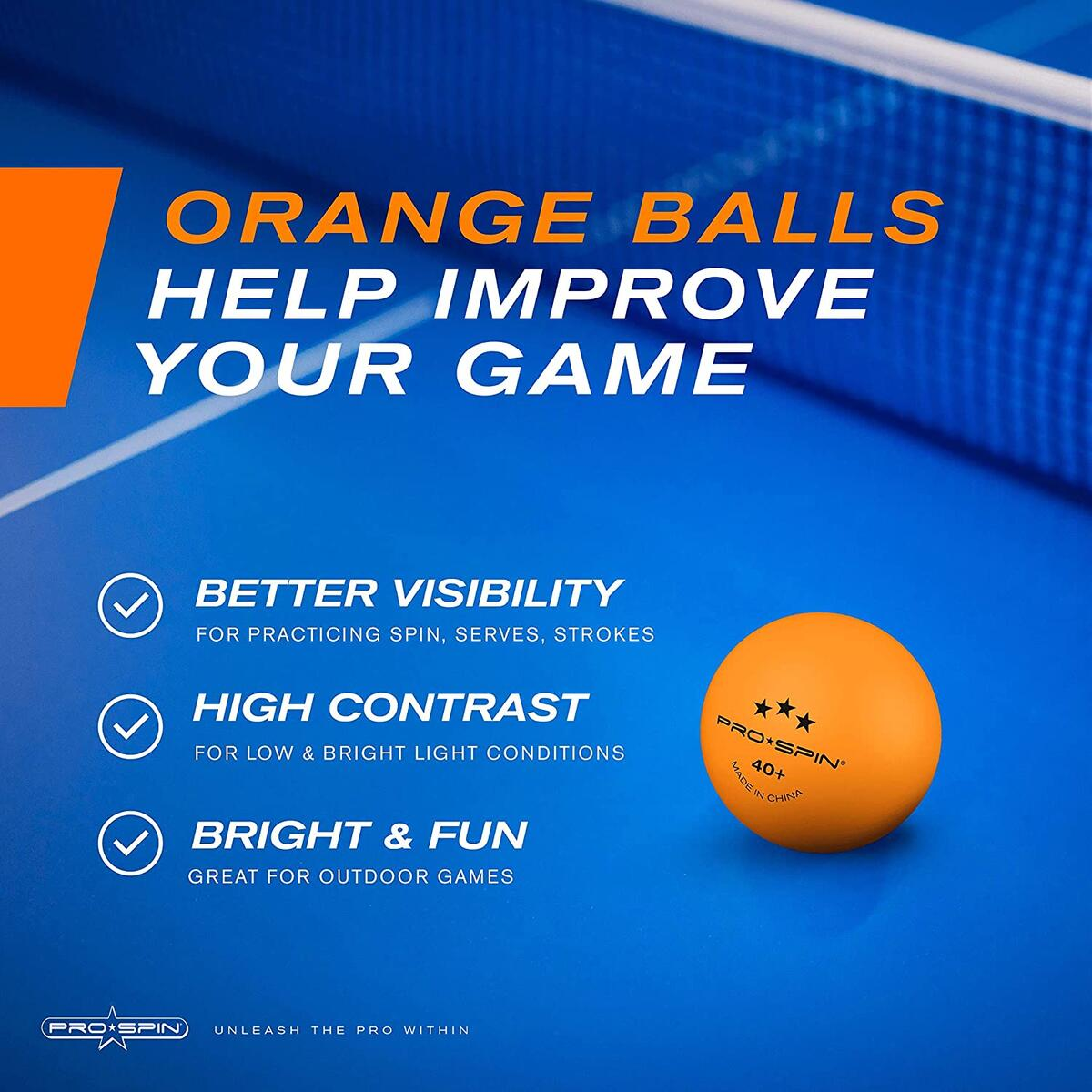 Pro-Spin 3-Star Ping Pong Balls | Orange 40+ | High-Quality Balls for Indoor/Outdoor Games