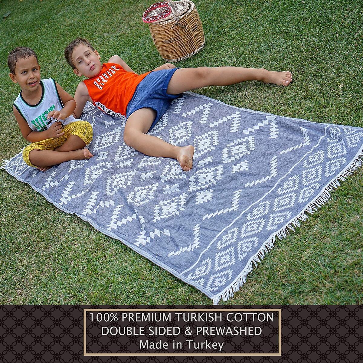 NERENZA Premium Turkish Beach Towel - 36 x 72 Inch XL- Ethnic Dark Blue Beige (1 Unit)