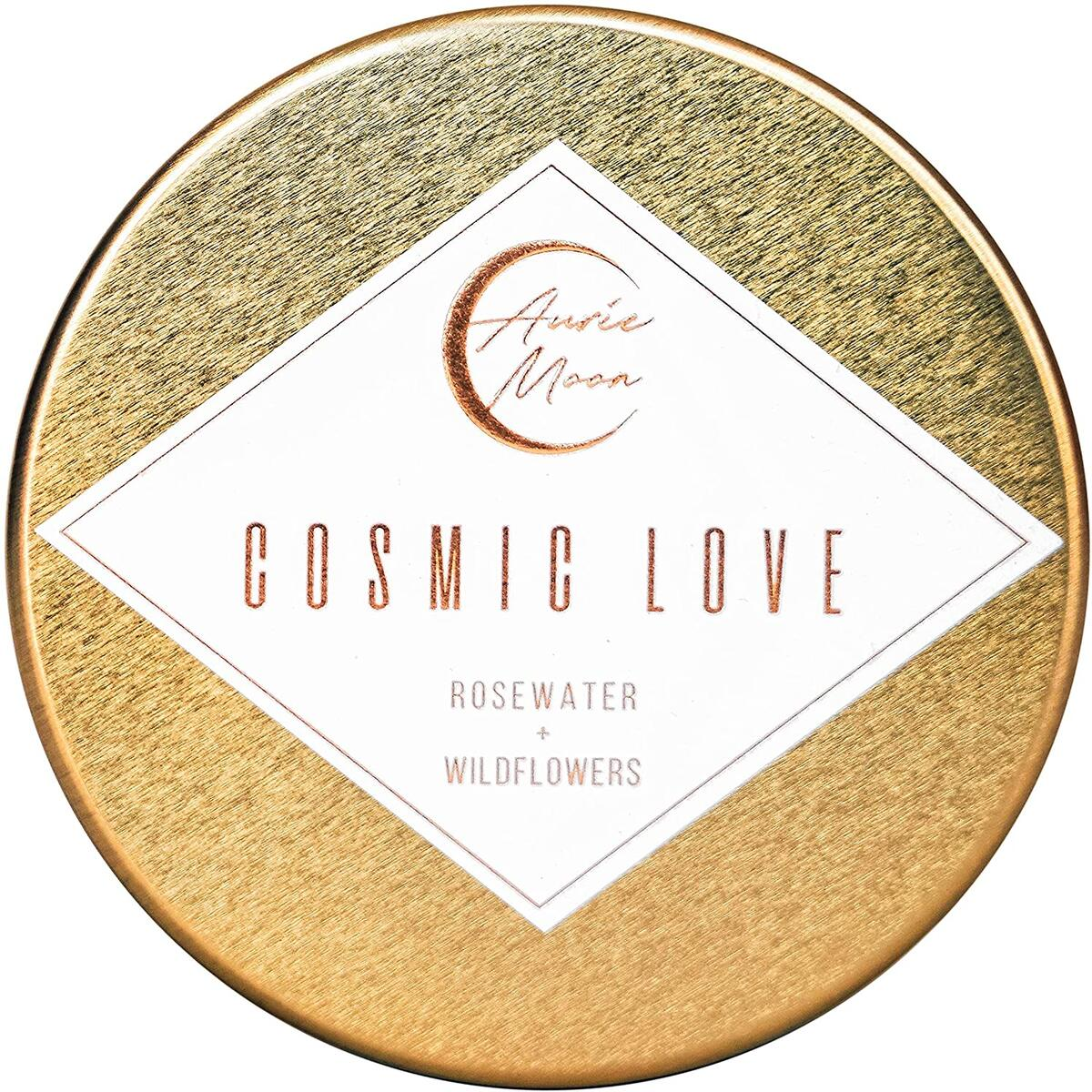Auric Moon | Rosewater + Wildflowers Scented Luxury Soy Coconut Candle for Women | Slow 35+ Hour Burn | Love & Elevate Your Space | 5.5 Oz Metal Tin with Lid | Hand-poured in California