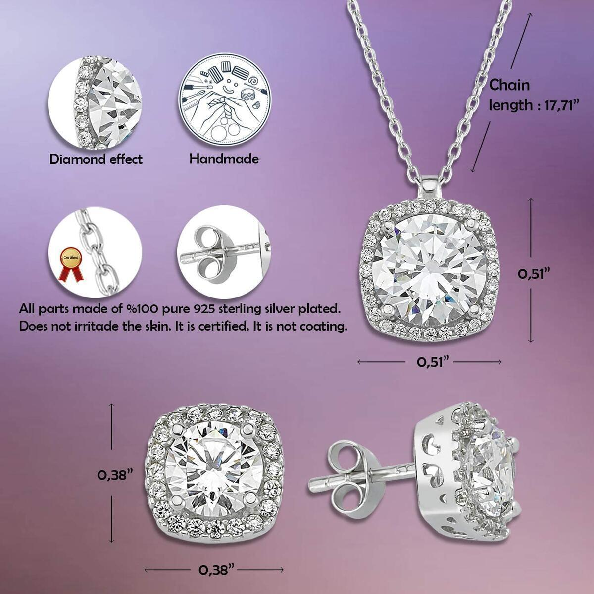 Starlight Diamond 925 Sterling Silver Plated Jewelry Set for Women with 100% Silver Plated Necklace and Earrings
