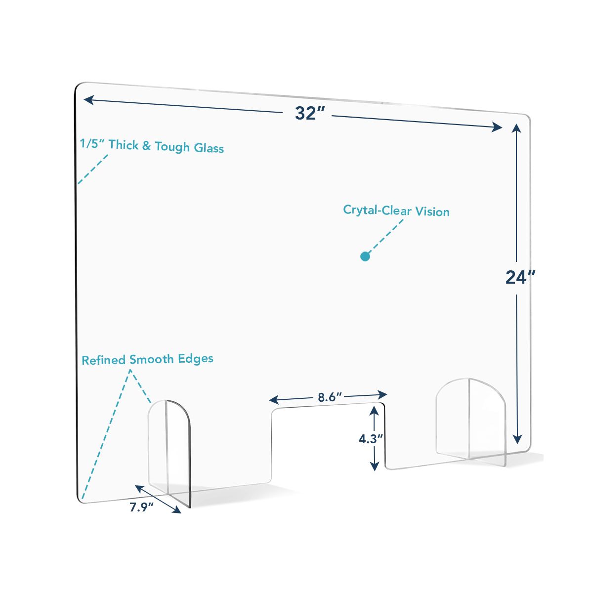 Pegasun Sneeze Guard for Counter - Premium Plexiglass Shield with Opening. Size: 32x24 or 24x43