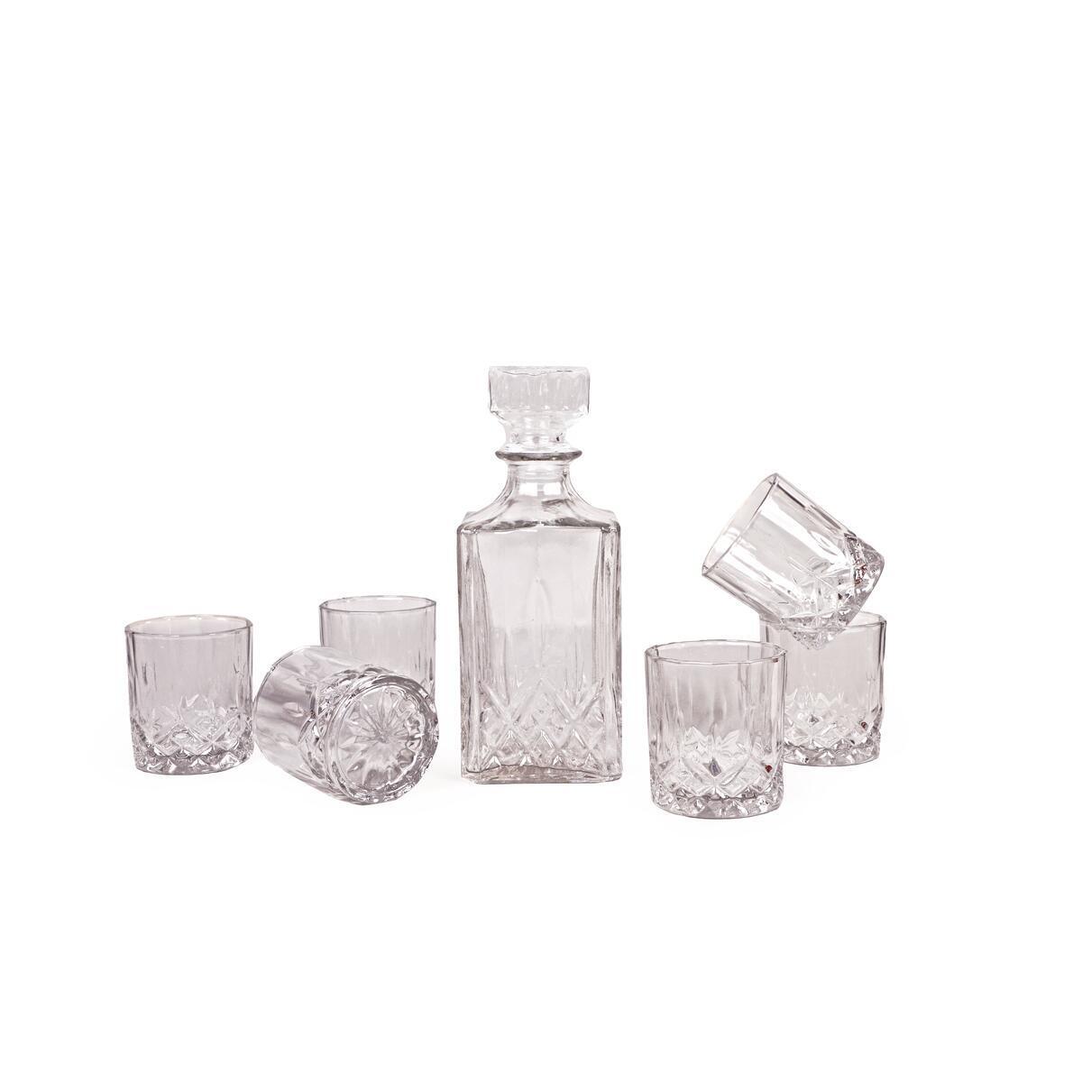 7 Piece Glass Decanter (1 Decanter & 6 Glasses Set).  Glasses are smaller Shot glasses. Glasses are smaller 7.5 Oz each/ Decanter 32 Oz