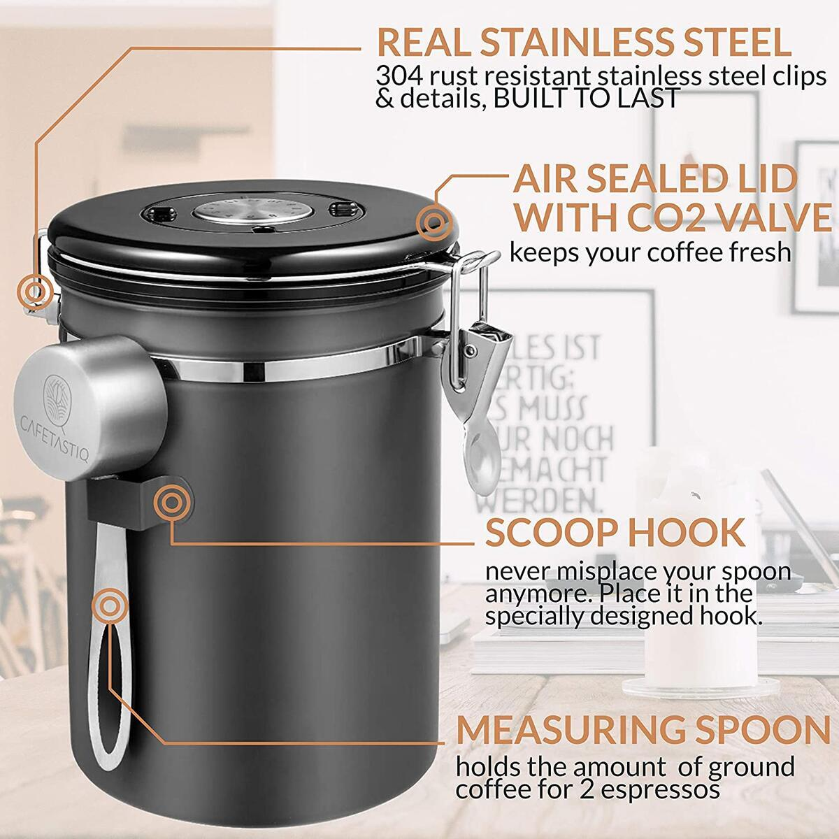CafetastiQ Coffee Canister - Large 22oz Airtight Coffee Container for Storage with Date Dial and Release Valve - Accessories Scoop (New Designer Grey)