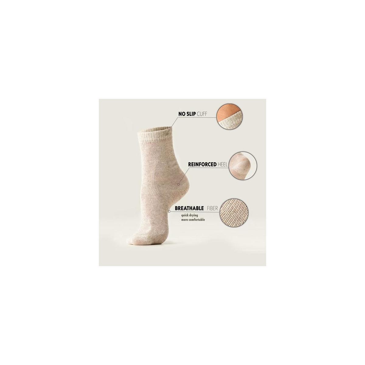 Natural Hemp Walking Socks – Cool Set of 3 Pairs - White