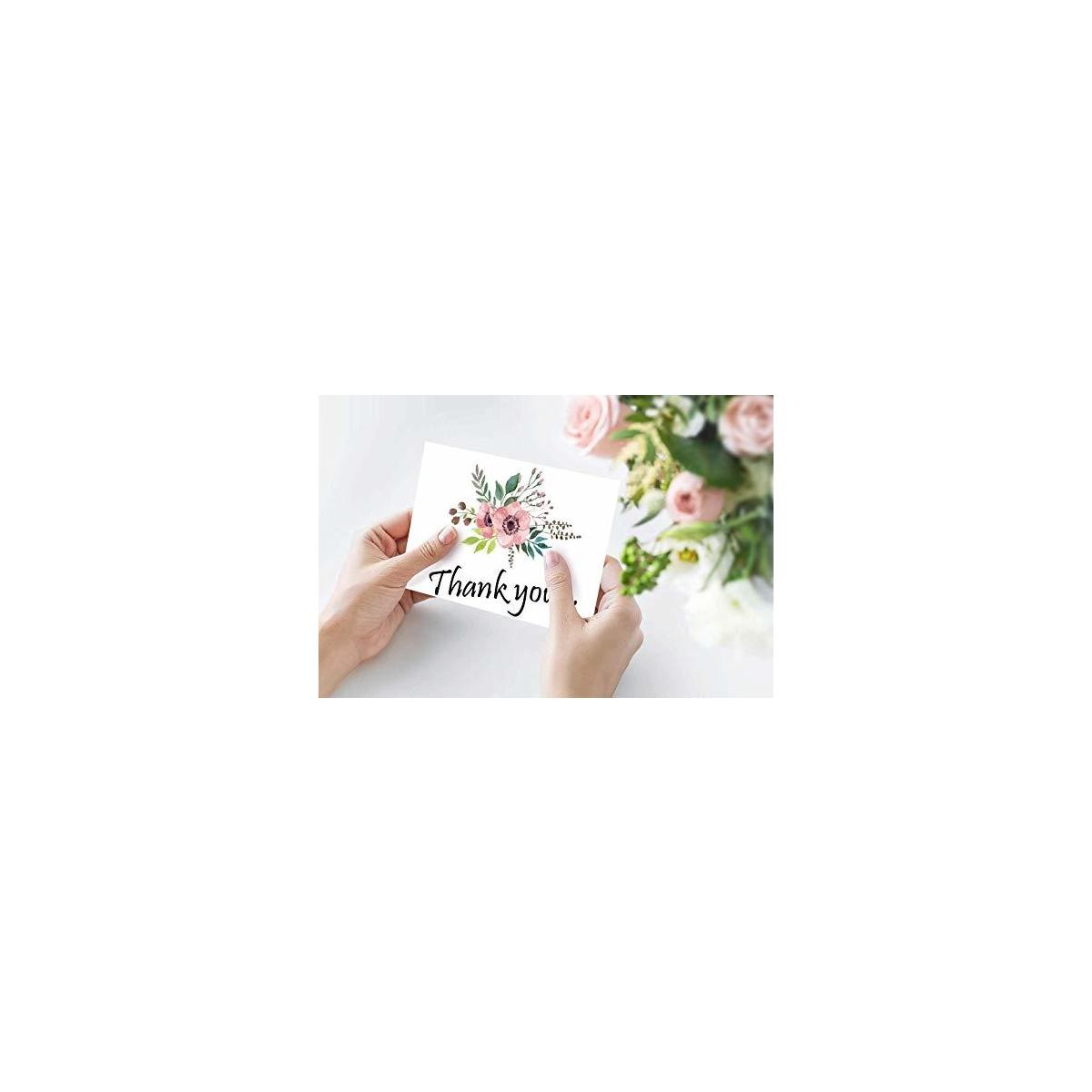Pretty  Floral Thank You Cards Bulk Boxed Set 100 for  Wedding , Bridal Shower,  Baby Shower  All Occasions, Envelopes Included