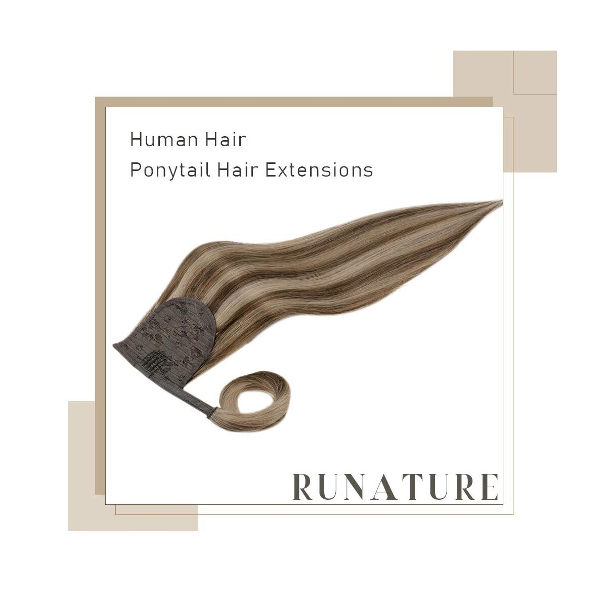 RUNATURE Ponytail 18 Inches Dark Brown Mixed Color 12 Highlighted Color 80 Grams Ponytail Hair Extension Clip in Wrap Around Real Human Hair Pony Tail Hairpiece