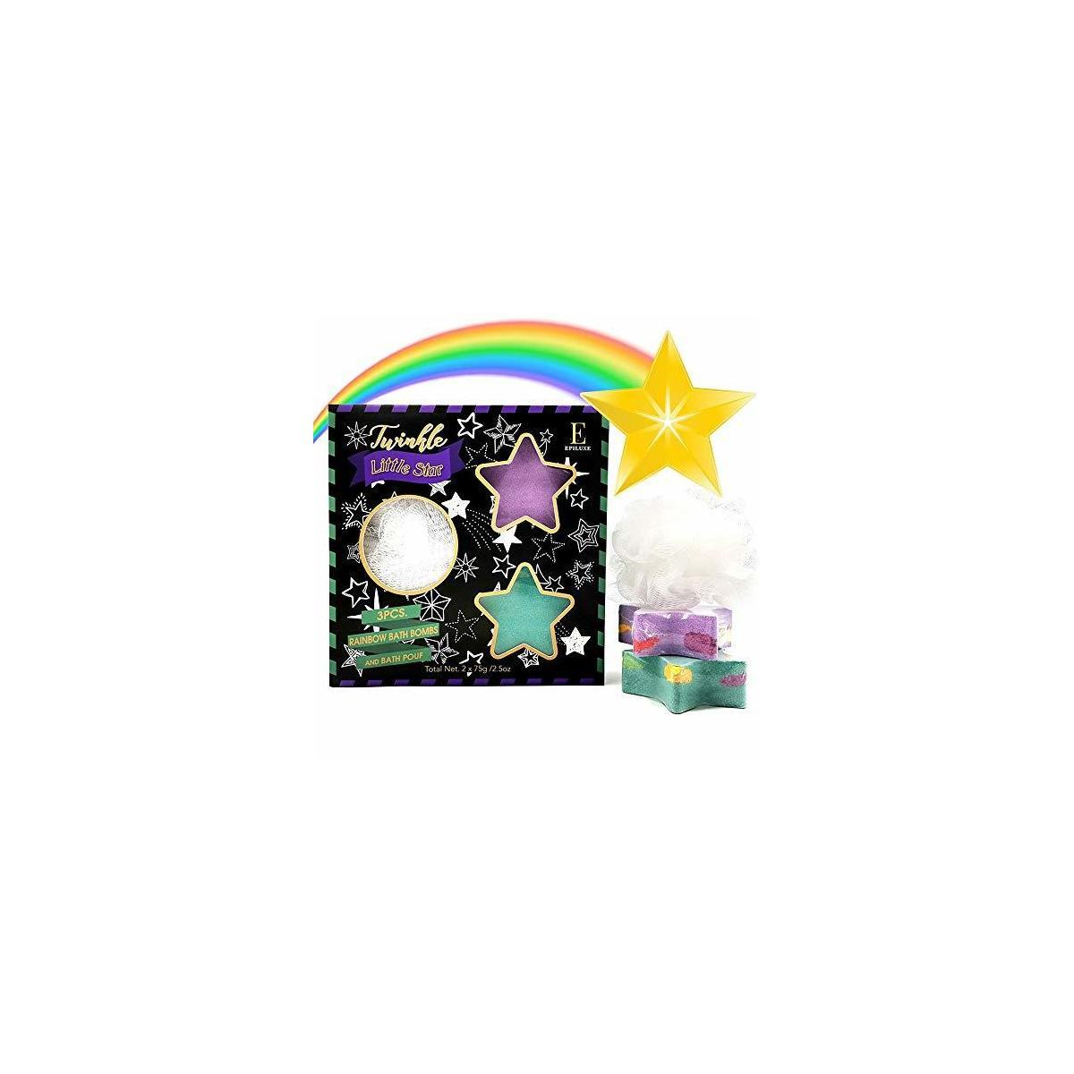 Shooting Star Rainbow Bath Bombs - Gift Set - Surprise Rainbow Colors, Organic Essential Oil & Shea Butter, Bubble Bomb Spa Skin Care Gifts Ideas, Kids Girls Boys Women Mom Teens Toddler Birthday