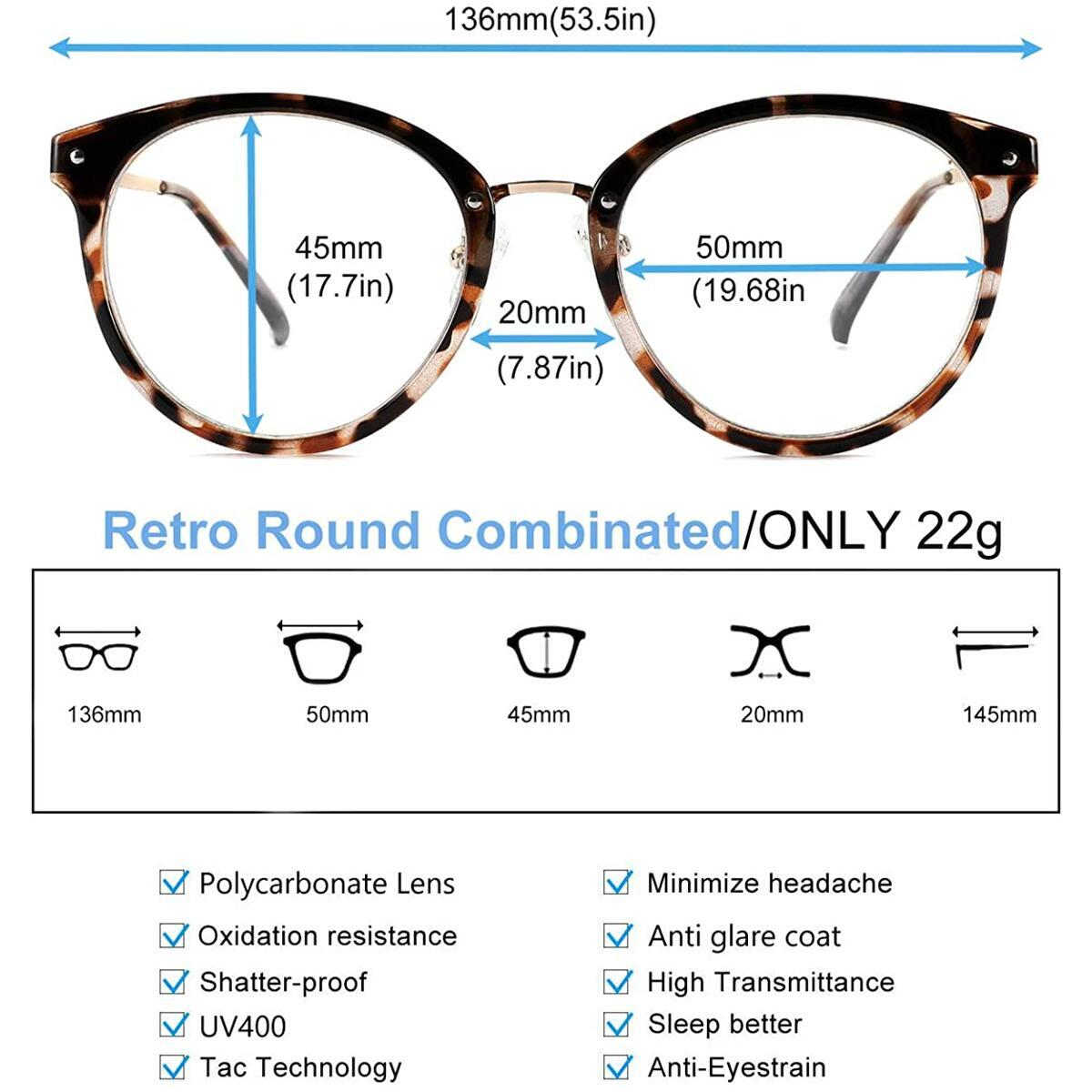 Tacloft Retro Round Clear Blue Light Glasses blocking glasses for women computer glasses TL2006