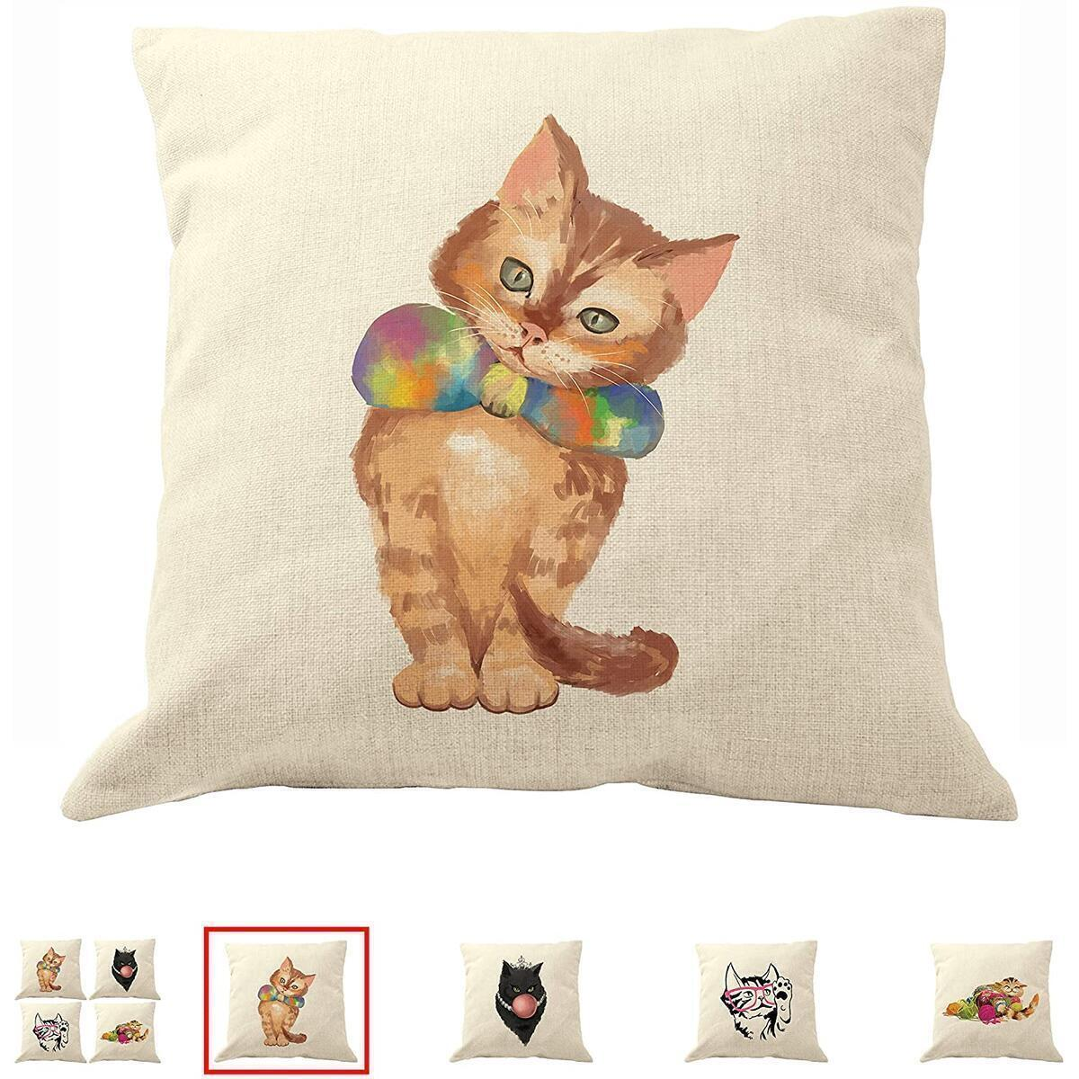 """DrupsCo - 18""""x18"""" Calico Cat Pillow Covers, Decorative Throw Pillows for Cat Lovers Made from Cotton Linen - Kitty Pillow Covers, Cat Decor Couch Pillows Cover"""