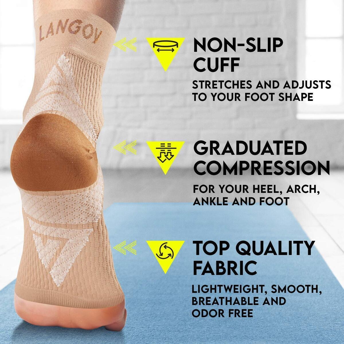 Plantar Fasciitis Support Brace (Pair) – Compression Nano Socks for Men & Women - Wrap for The Ankle, Foot, Arch & Heel, Sleeve Relieves Pain, Neuropathy (Black, Large)