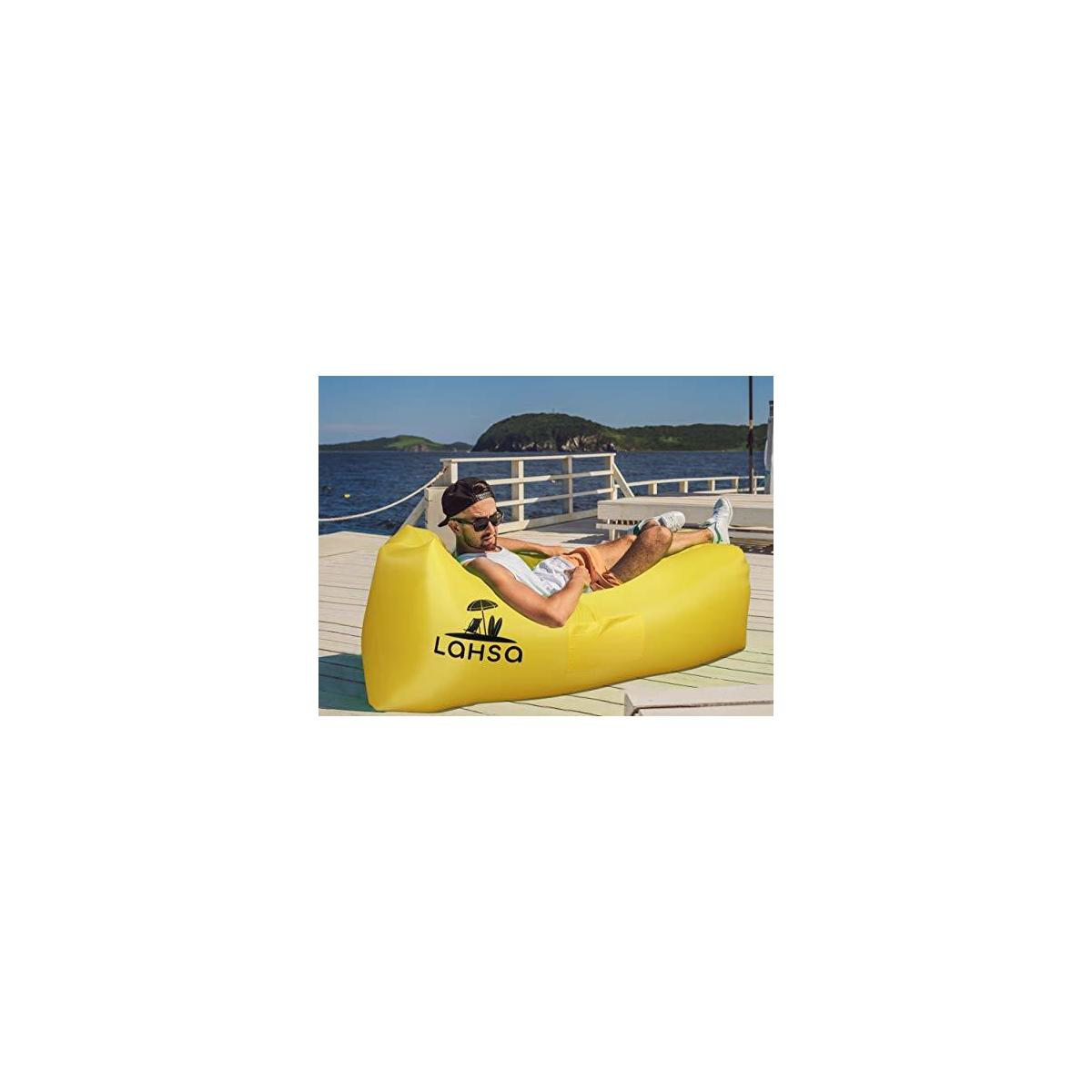 LaHSa Inflatable Lounger Air Sofa Hammock - Ideal Couch for Beach, Pool, Picnic, Backyard, Festivals, Traveling - Inflate in Seconds - Waterproof and Durable - Perfect Air Chair for Hiking and Camping