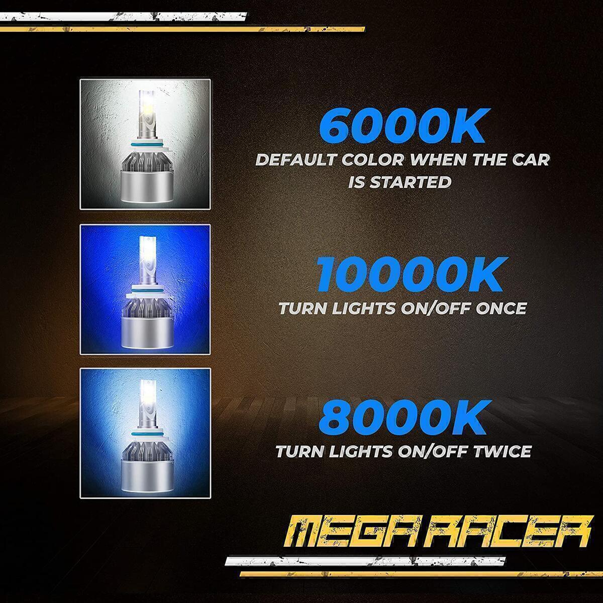 Mega Racer H10/HB3/9005 LED Headlight Bulbs, 3 Colors Changing Lights (6000K Diamond White, 8000K Ice Blue, 10000K Dark Blue) for High Beam/Low Beam/Fog Lights, 50W 8000 Lumens COB IP68, Pack of 2