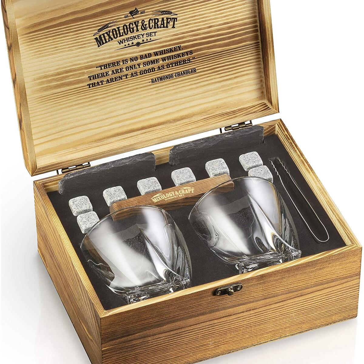 Whiskey Stones Gift Set for Men | Whiskey Glass and Stones Set with Wooden Box, 8 Granite Whiskey Rocks Chilling Stones and 10Oz Whiskey Glasses | Whiskey Lovers Gifts For Men, Dad, Husband, Boyfriend