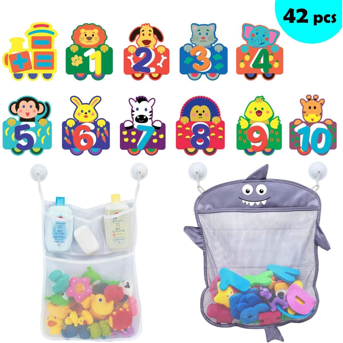 Shark Organizer for Baby Bath Toys + Foam Numbers & Animal Train