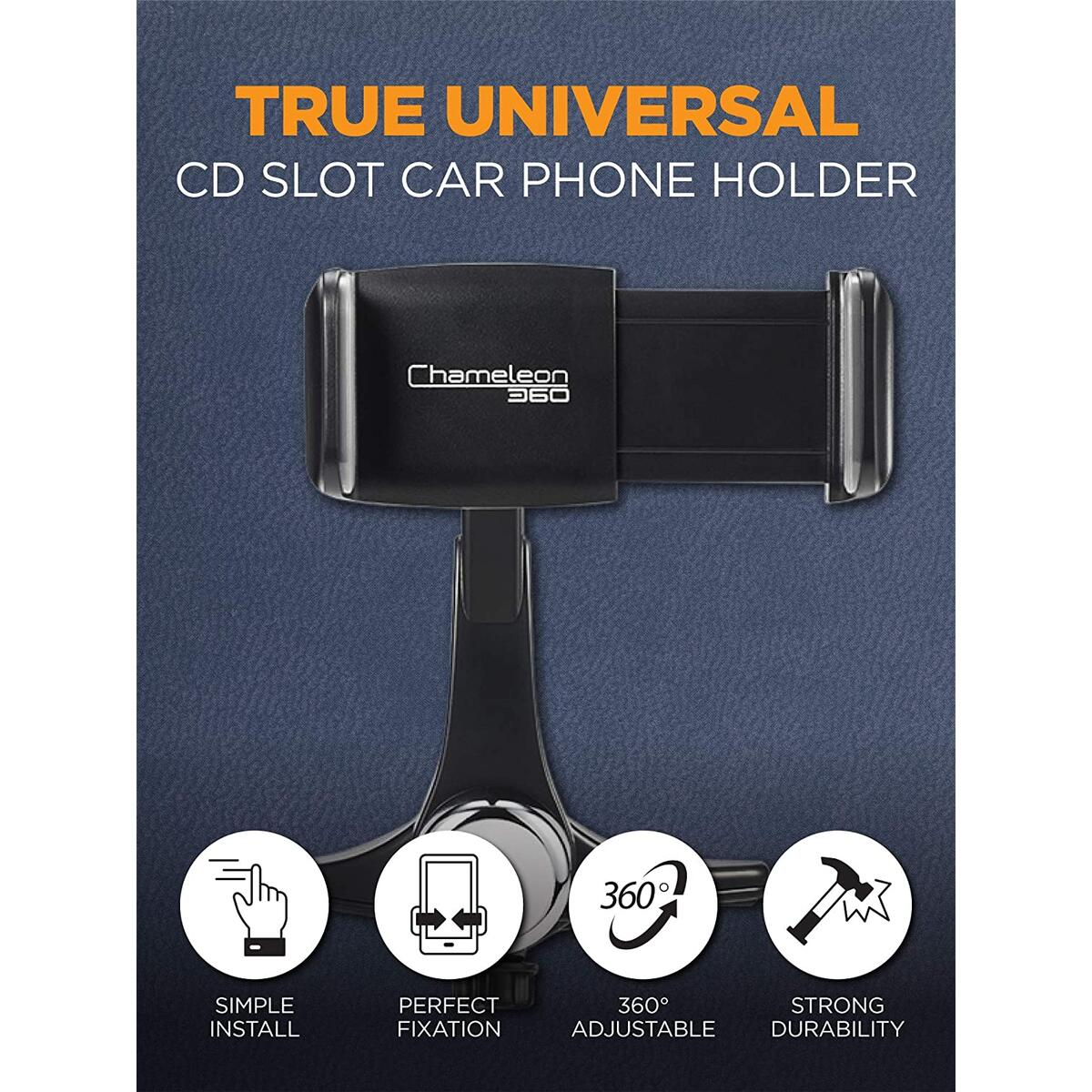 Chameleon 360 Easy Slide Long Arm 360 Degrees CD Slot Car Phone Holder for iPhone 11/11Pro/11Pro Max/Xs MAX/XR/XS/X/8/8Plus, Galaxy S10/S10+/S10e/S9/S9+/N9/S8