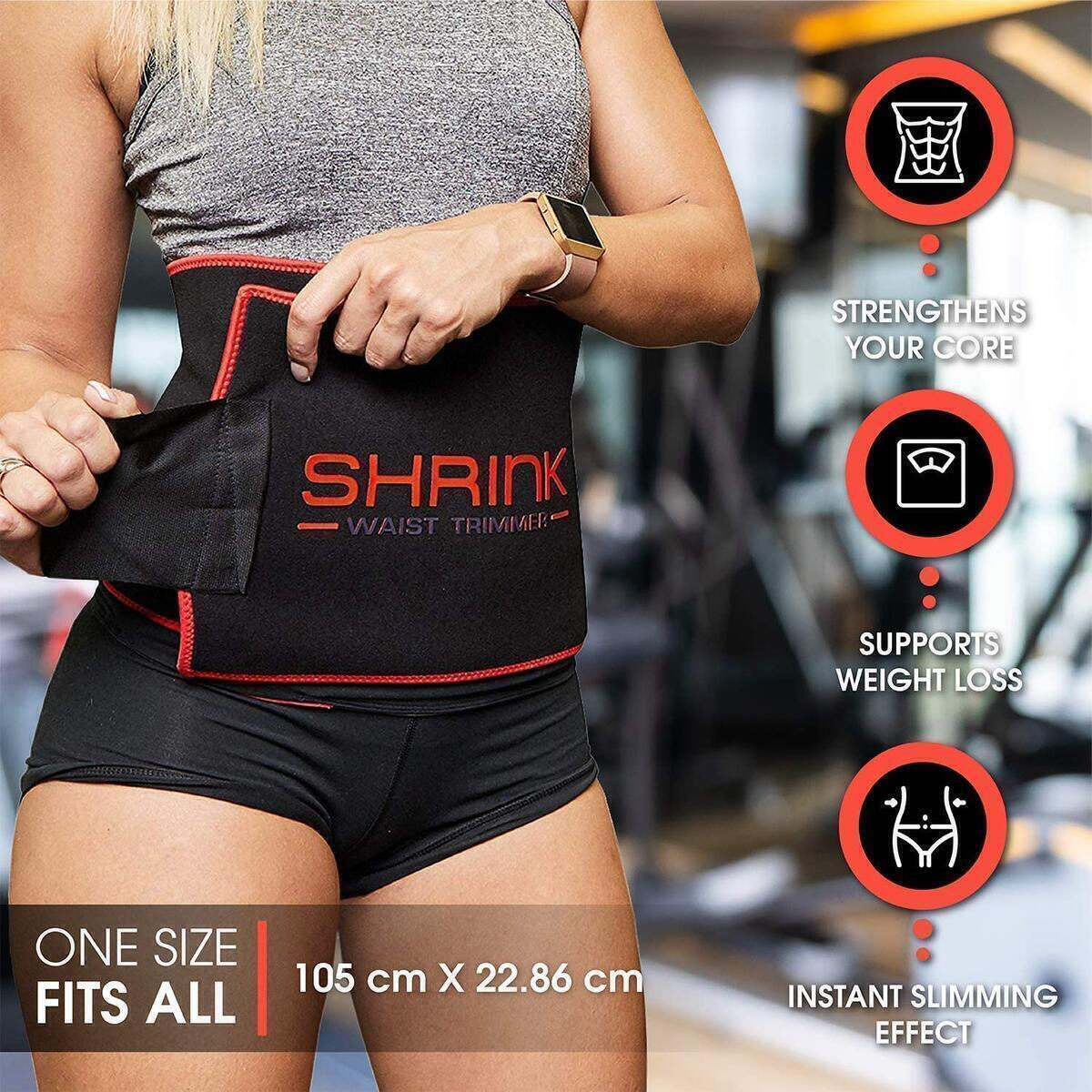 Shrink Workout Waist Trimmer Belt for Men and Women – Waist Cincher Trainer and Body Shaper Strengthens Your Core, Supports Weight Loss and Provides Instant Slimming Effect