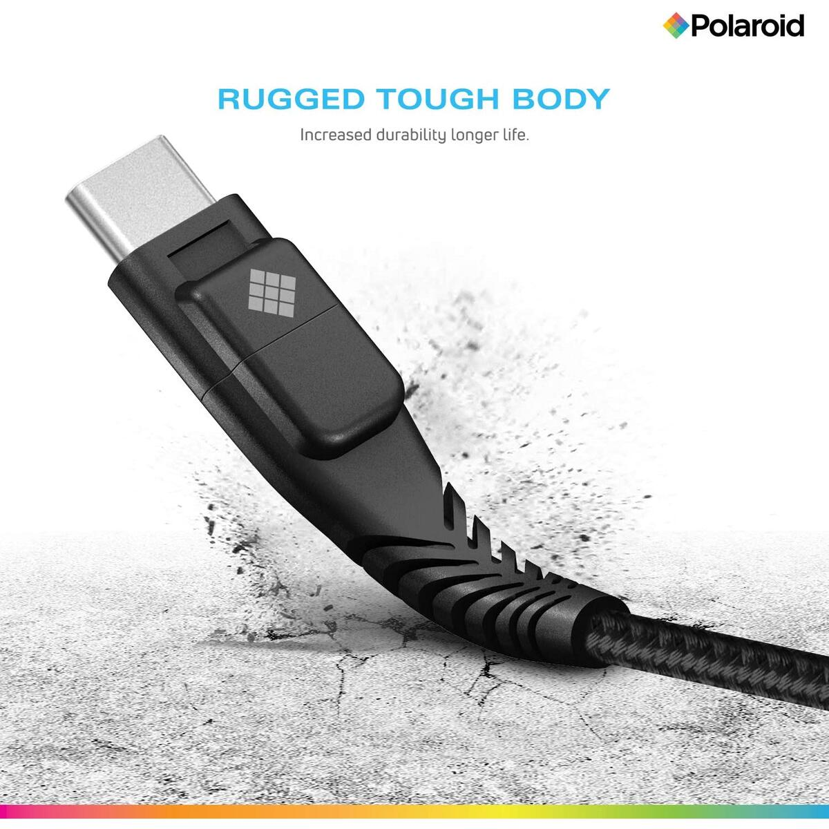 Polaroid 5ft USB Type-C Cable, with LED Light, Braided Premium Spun Nylon Charger Cable