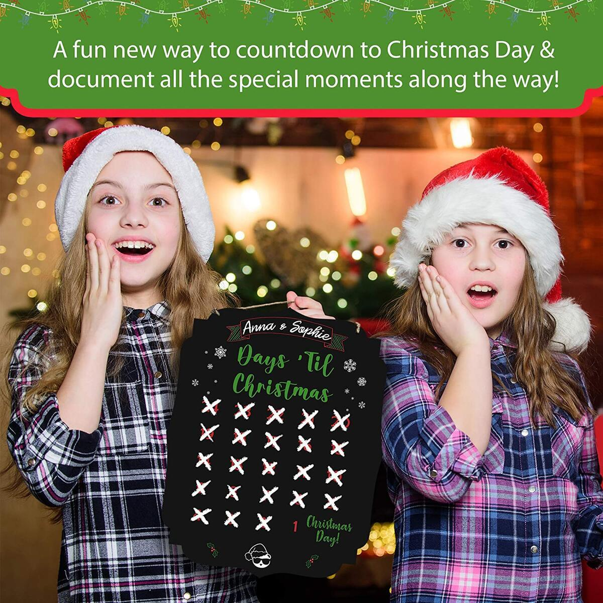Christmas Countdown Calendar Chalkboard Sign | Fayfaire Jumbo Double-Sided Christmas Advent Calendar & Wish List for Kids | 14.5