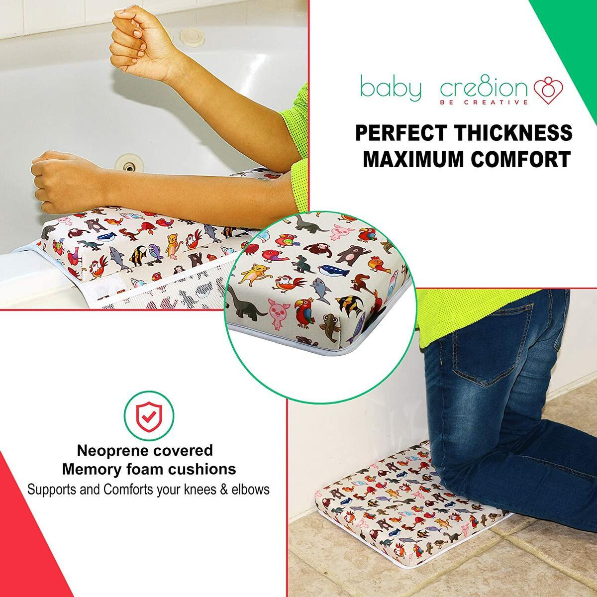 Baby Bath Kneeler and Elbow Rest Pad Set Animal Print