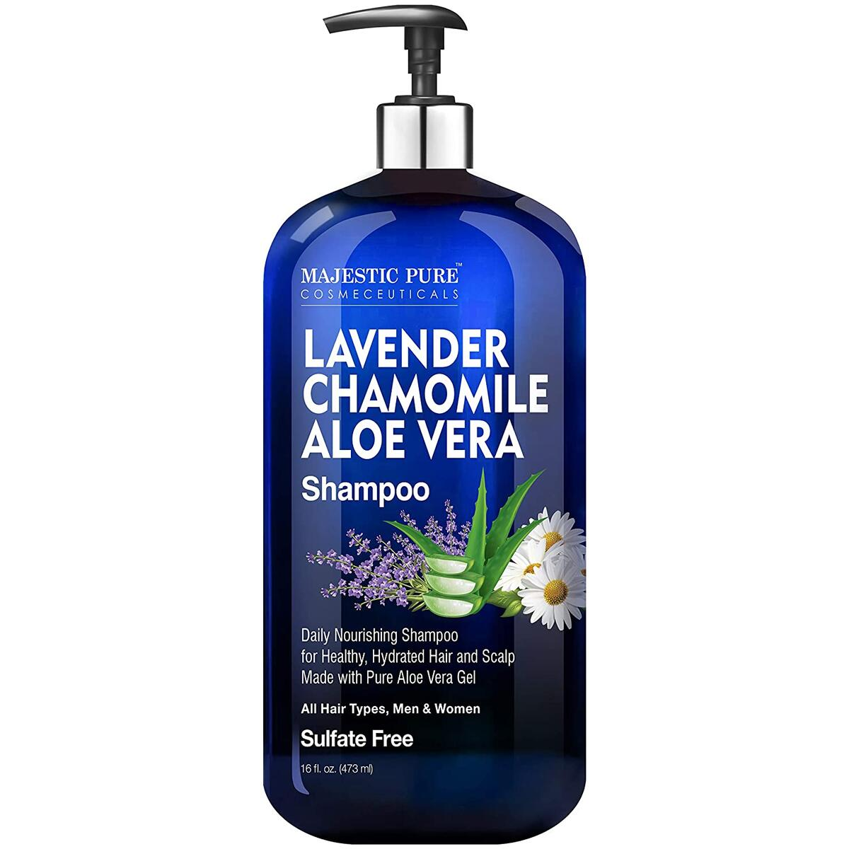 Lavender Chamomile Aloe Vera Shampoo - Cleansing, Hydrating, Nourishing, Sulfate Free - Daily Shampoo for Men and Women, All Hair Types - Promotes Scalp Health - 16 fl oz