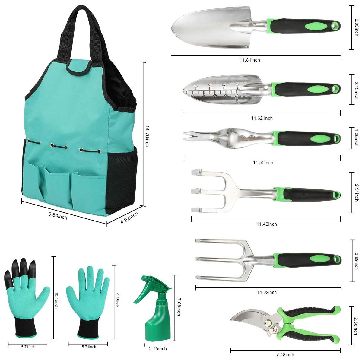 Garden Tools Set 10 Pieces, Gardening Kit with Heavy Duty Aluminum Hand Tool and Digging Claw Gardening Gloves for Men Women,Green