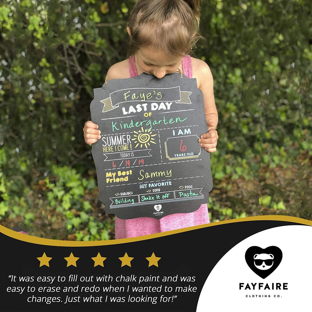 First Day of School Board   Fayfaire Jumbo 2-In-1 Back to School & End of the Year Sign 14.5