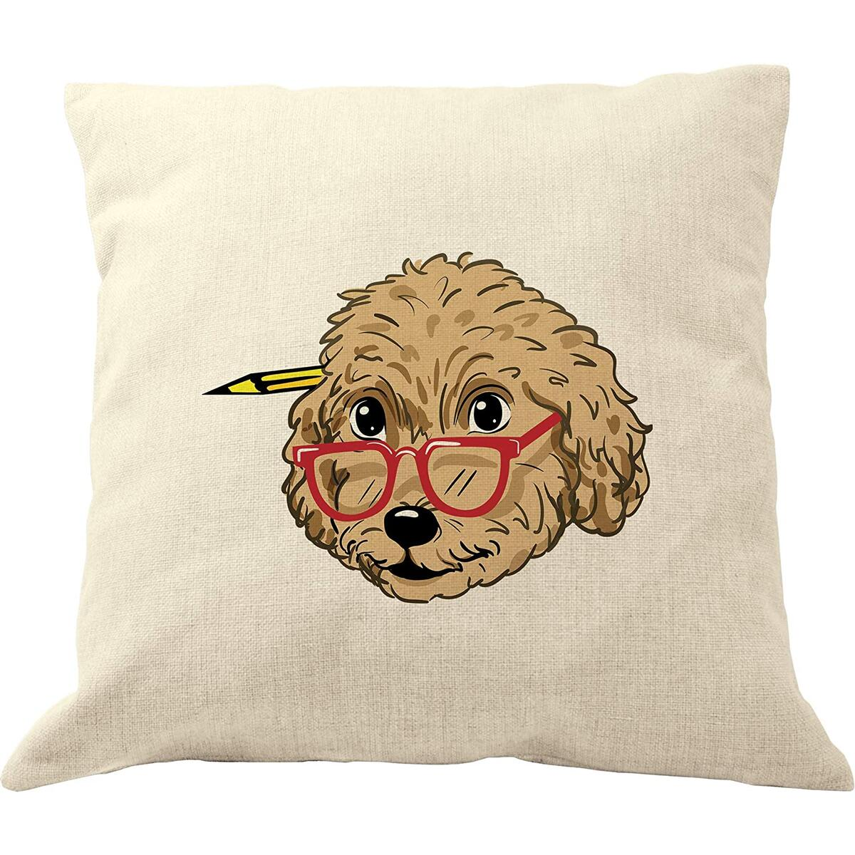 DrupsCo Goldendoodle Pillow Cover 18x18, Cotton Linen Decorative Dog Throw Pillow Case