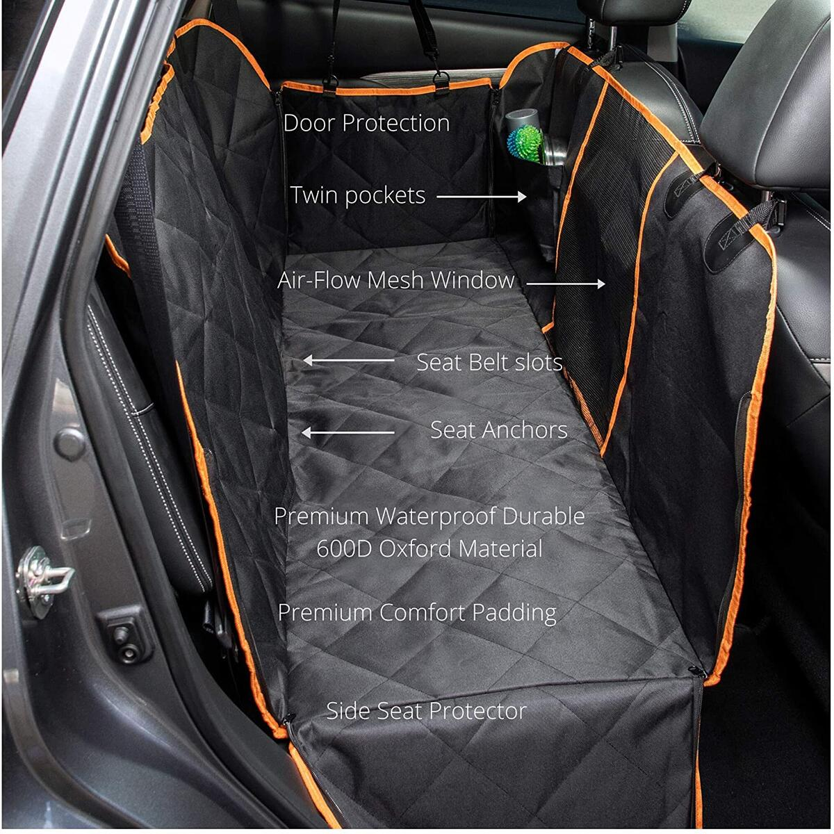 Peppertree Pets Dog Car Seat Covers for Cars Dog Seat Cover for Back Seat Heavy Duty Scratch Proof Nonslip Waterproof Car Seat Protector Airflow Mesh Window 2 Pockets Back Seat Covers for Cars SUVs