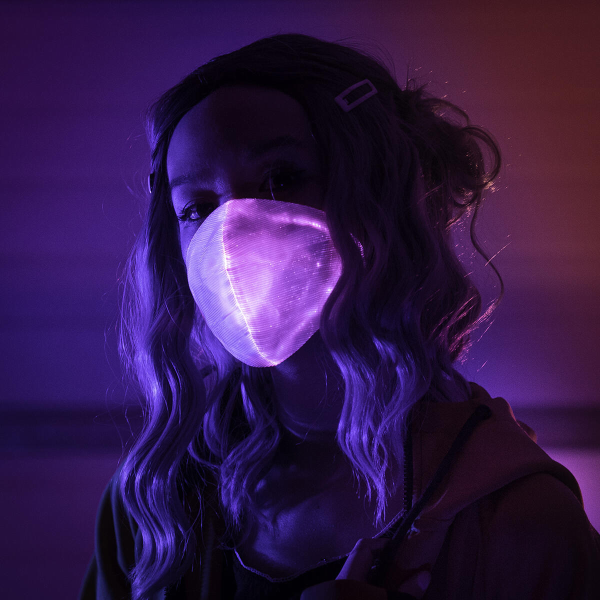 Live Wire LED Face Mask, USB Powered, Bright, Multi Colored, Breathable