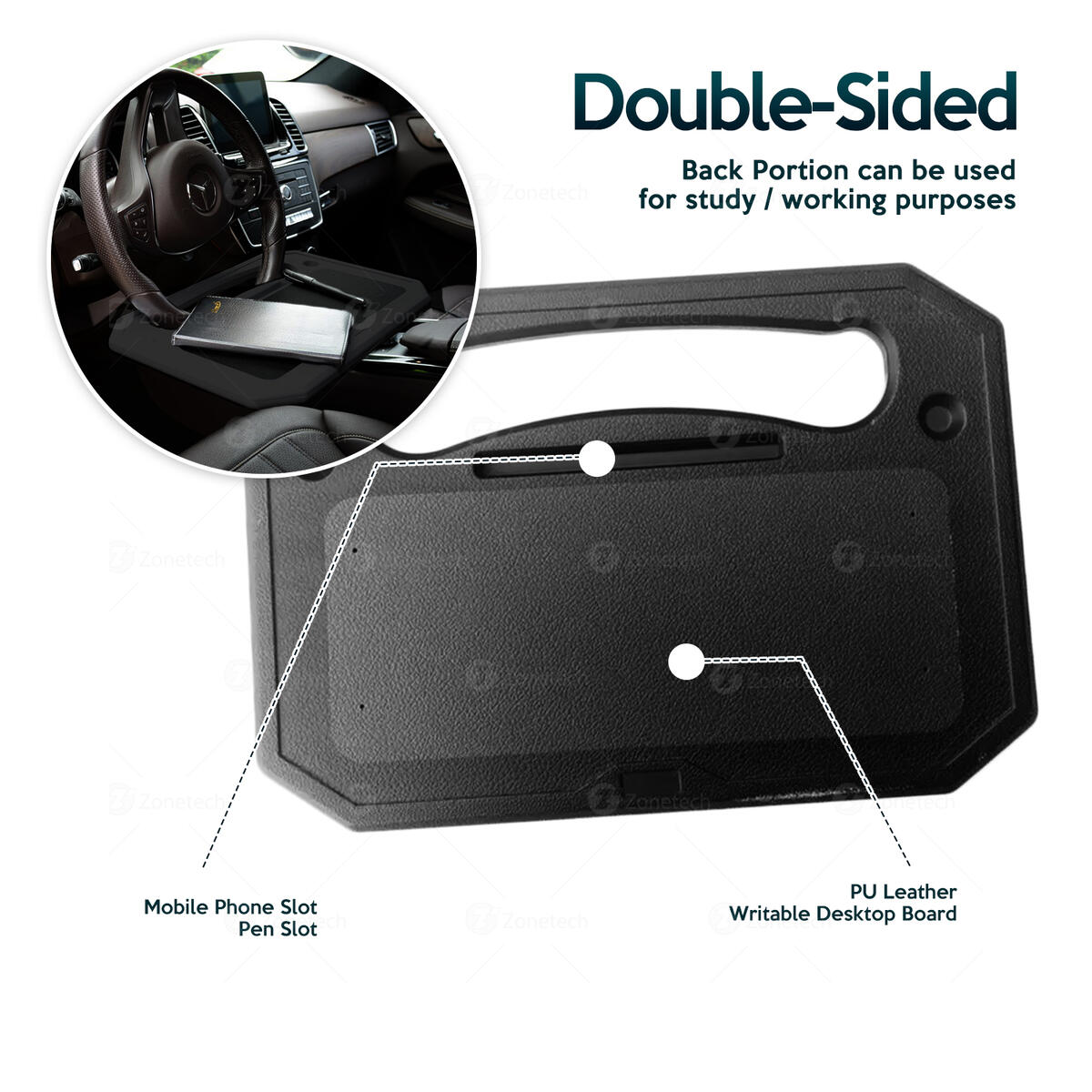 Zone Tech Auto Steering Wheel Tray - Multi-Functional Black Portable Vehicle Laptop, IPad, Notebook, Tablet, and Food Eating Desk for Drivers - Fits Most Steering Wheels