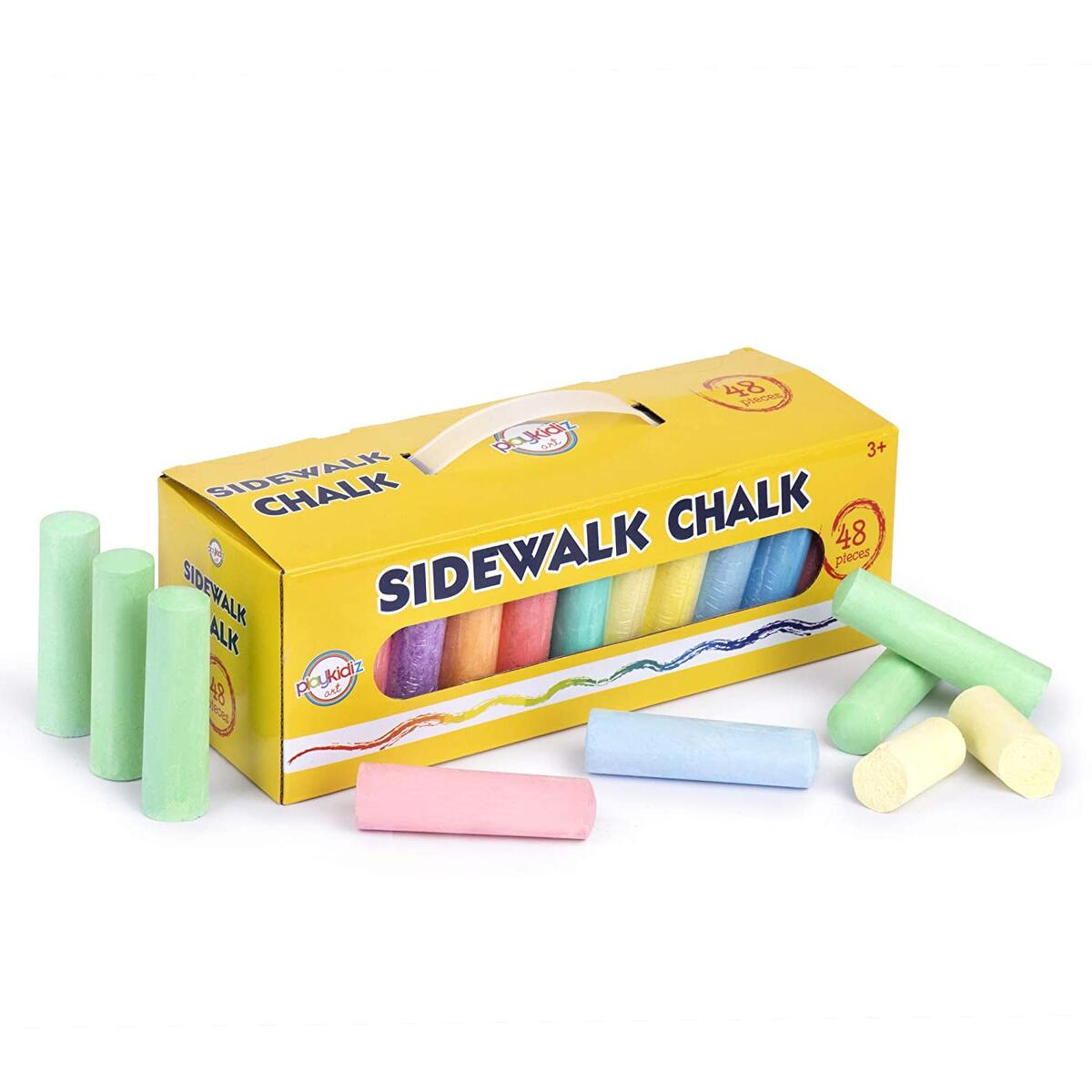 48 Piece Sidewalk Chalk Assortment of Colors Great for Playing Outdoors Comes with a Convenient Carrying Case and Handle