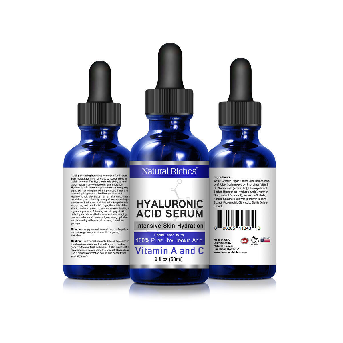 Natural Riches Hyaluronic Acid Serum Anti-Aging Facial Serum Pure Hydration Natural Moisturizer with Vitamin C Vitamin A Skin Care Reduce Wrinkles Dark Spots Brightening Face Glowing Skin