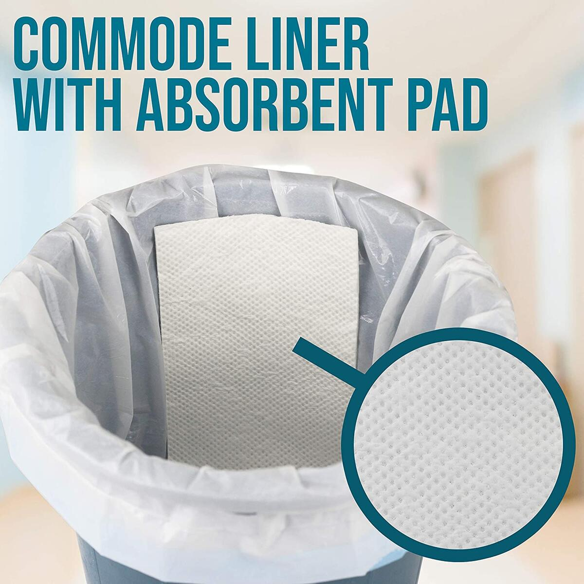 [Pack of 90] Commode Liners with Absorbent Pad, Portable Toilet Bags, Bedside Commode Liners Disposable, Potty Chair Liners, Commode Bucket Liners