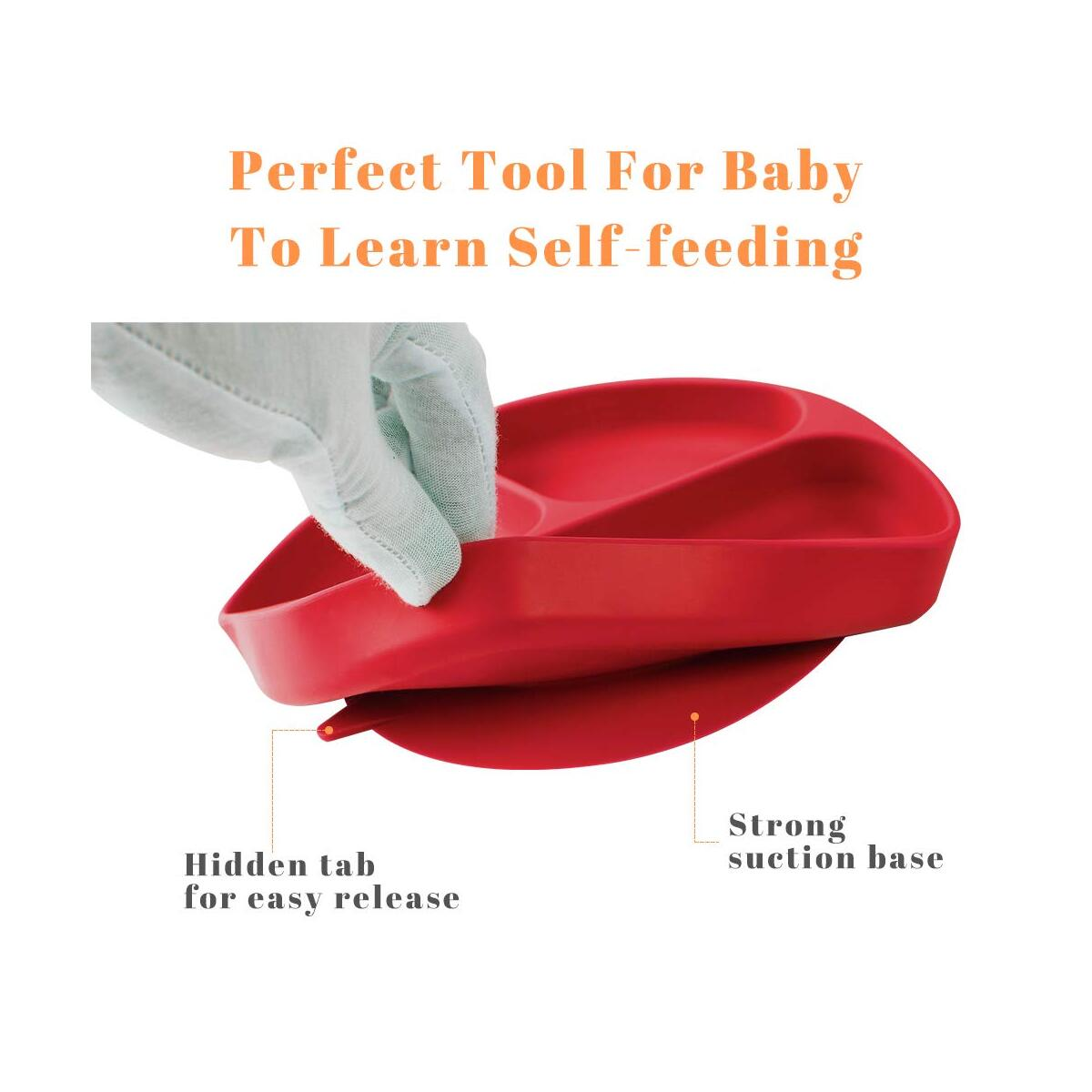 SOULCHEF Silicone Suction Plates for Babies, Toddler Divided Feeding Grip Dishes, BPA Free, Microwave & Dishwasher, and Oven Safe - Valid for ANY Variation 7 Colors to Choose