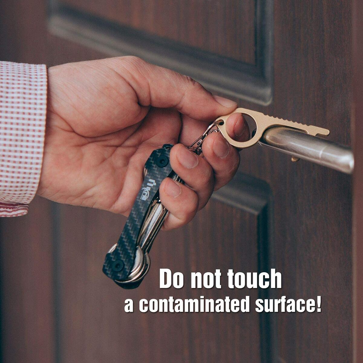 Hands free door opener Made from Brass/Button Pusher Keychain