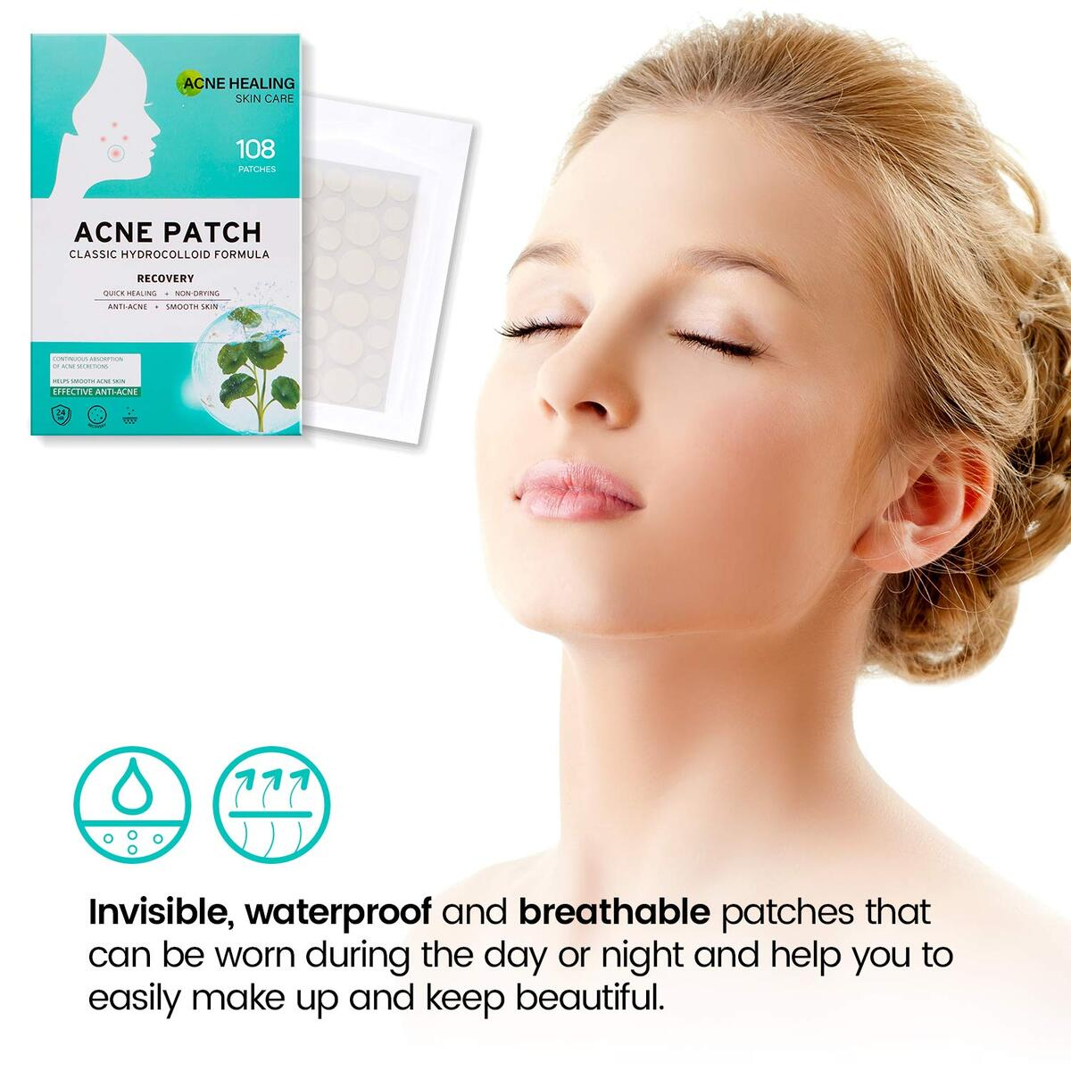 Plus+ Acne Patch Invisible Concealer and Hydrocolloid Pimple Patches for Face Fast and Perfect Skin Care 108pcs