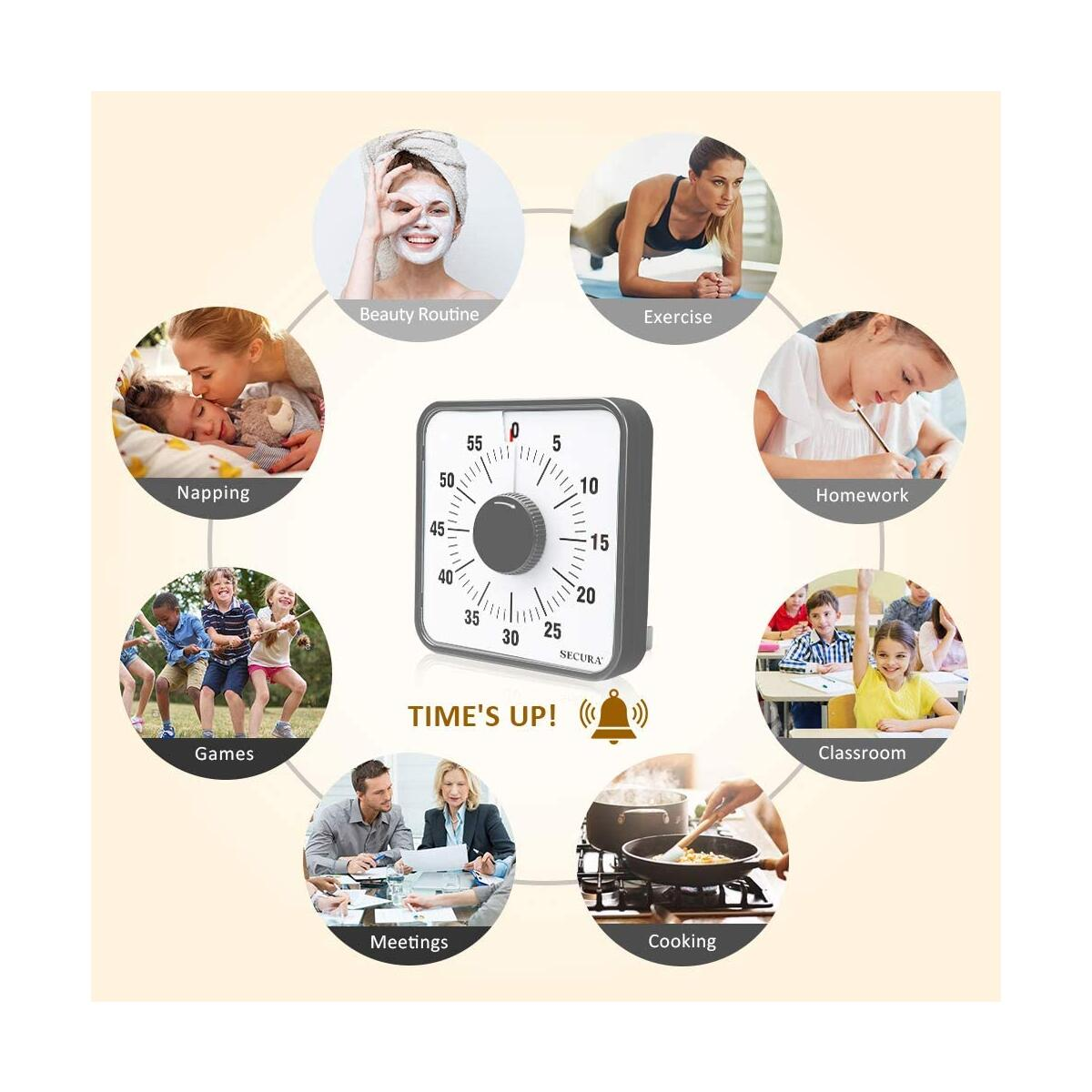 Secura Kitchen Timer 60-Minute Mechanical Visual Timers for Cooking, 7.5-Inch Oversize Countdown Clock for Teaching, Meeting, Facial with Magnetic Backing, Collapsible Legs, Hanging Hole (Dark Gray)