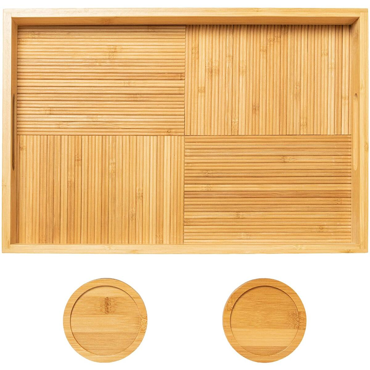"Primesque Serving Tray with Handles – Premium Bamboo Wooden Trays for Coffee Table with 2 Bamboo Coasters - Decorative Ottoman Tray for Living Room, Kitchen, Bedroom and Vanity (16.5""x11""x2"")"